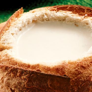 Sopa de queijo no pão